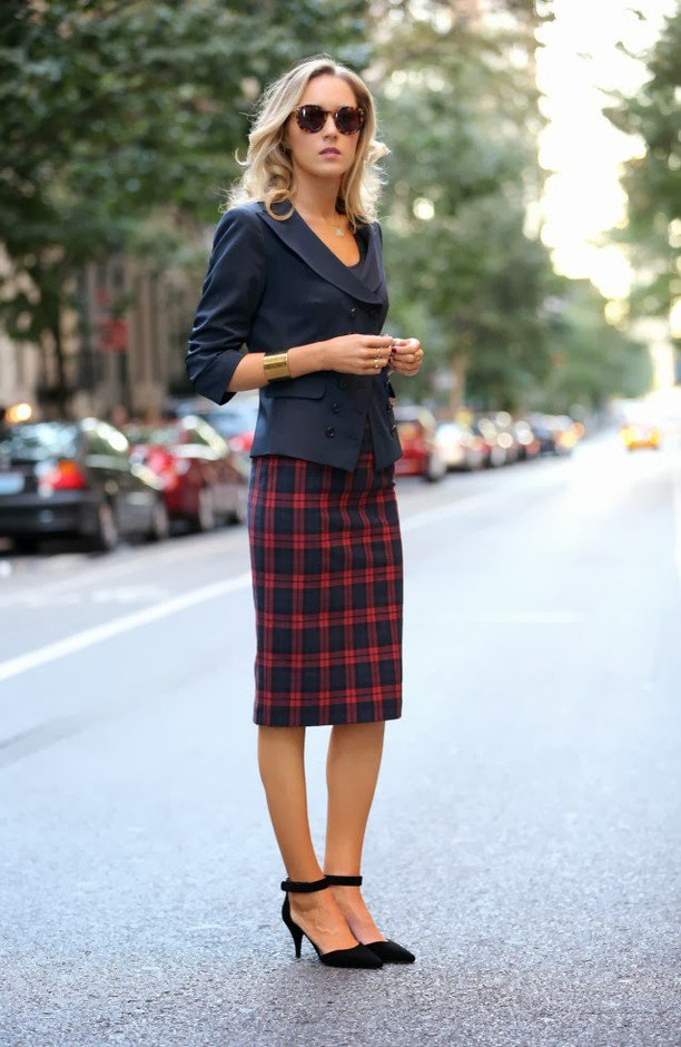 Blazer and Plaid Skirt
