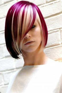 Blonde Bob Haircut With Red Highlights