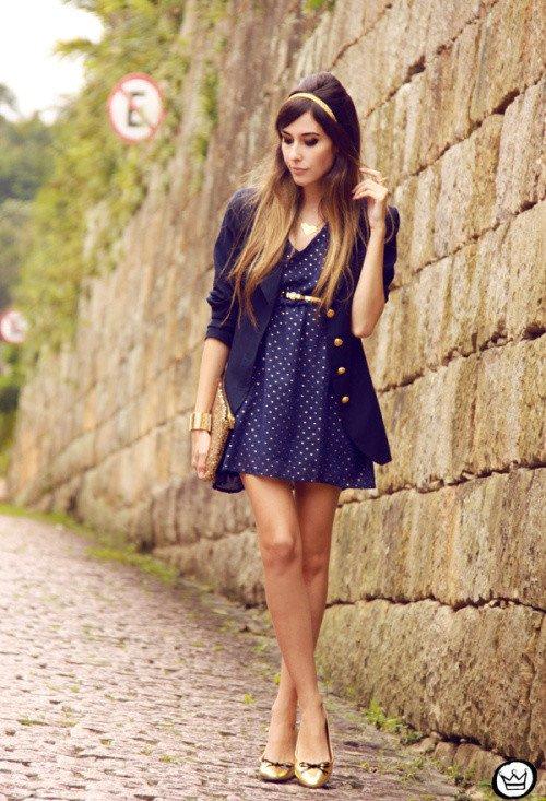 Blue Blazer with Polka Dot Dress