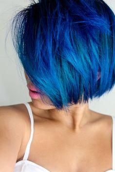 Blue Bob Haircut