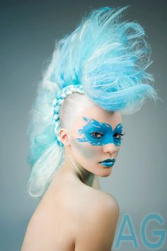 Blue Colored Punk Hairstyle