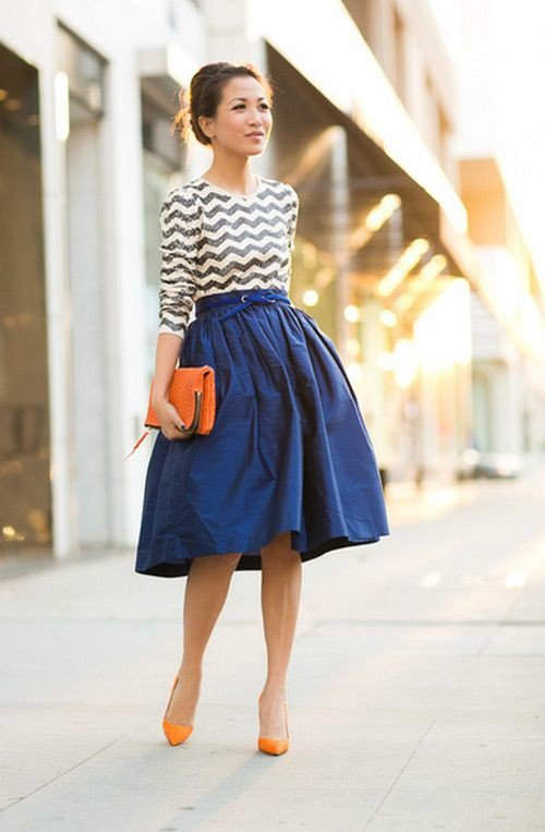 Blue Midi Skirt Outfit for Women