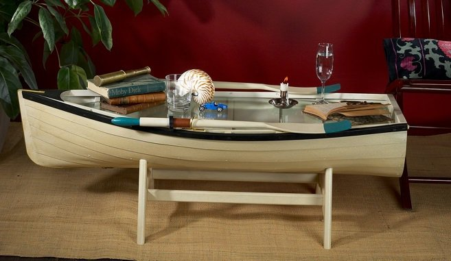 4 Foot row Boat nautical coffee table skiff schooner canoe ... |Dinghy Coffee Table