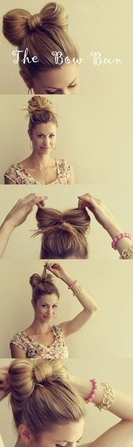 Bow Bun Hairstyle for School Girls