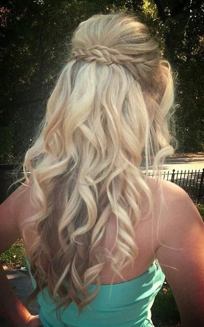 Braided Blond Curly Hairstyle