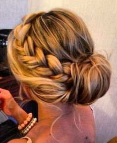 Braided Bun Hairstyle for Ombre Hair