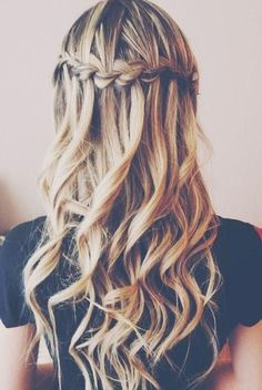 Braided Waterfall for Long Curly Hairstyles