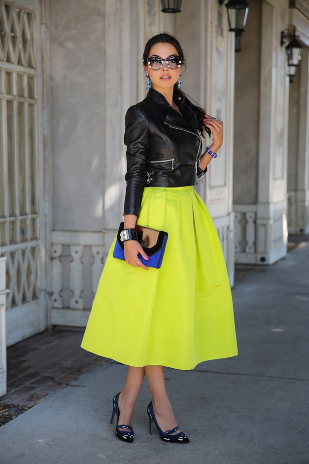 Bright Colored Midi Skirt and Leather Jacket Outfit