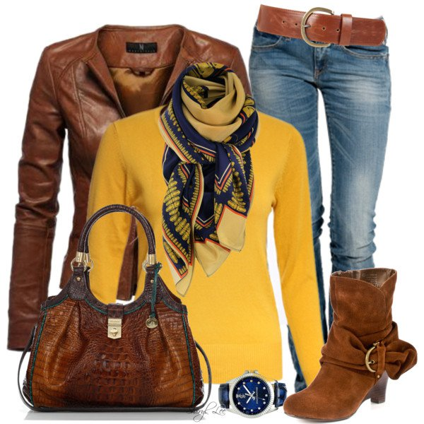 Bright Sweater with Brown Jacket