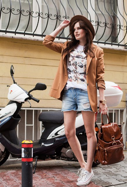 Brown Blazer with Denim Shorts