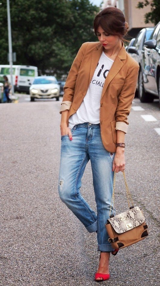 Brown Blazer with Jeans