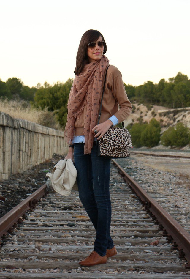 Brown Jacket with Leopard Printed Bag