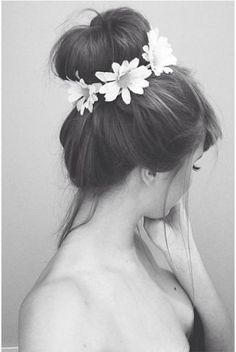 Bun Hairstyle With Flower Crown