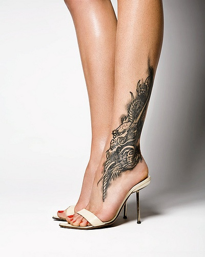Calf and Ankle Tattoo