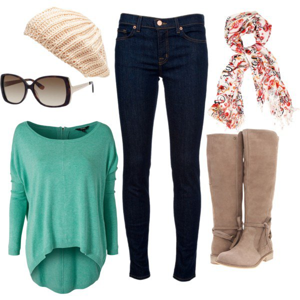 Casual Outfit Idea with Floral Scarf