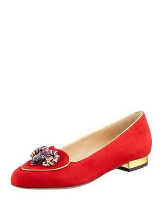 Charlotte Olympia Birthday Aries Zodiac Suede Smoking Slipper