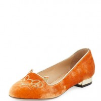 Charlotte Olympia Hippy Kitty Velvet Slipper