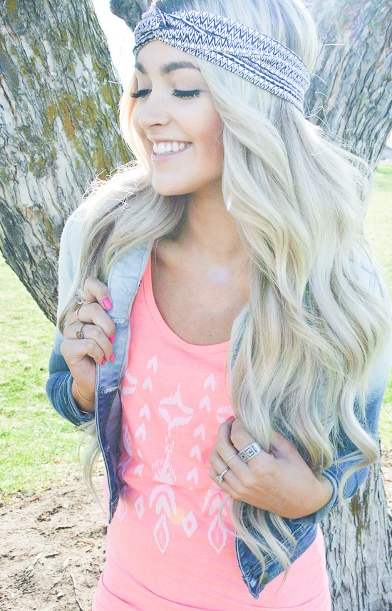 Chic Headband Hairstyle for Long Hair