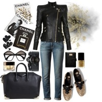 Chic Outfit Idea with Black Leather Jacket