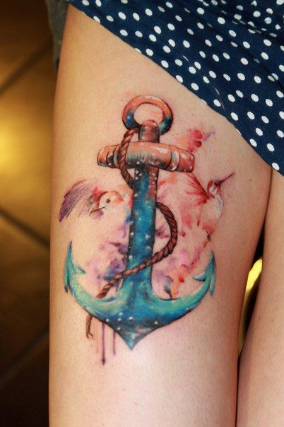 Colorful Anchor Tattoo