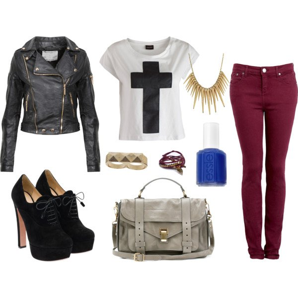 Cute outfit with black leather jacket