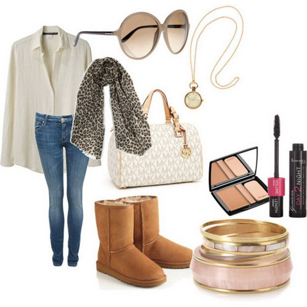 Cool Outfit for Fall with Leopard Printed Scarf