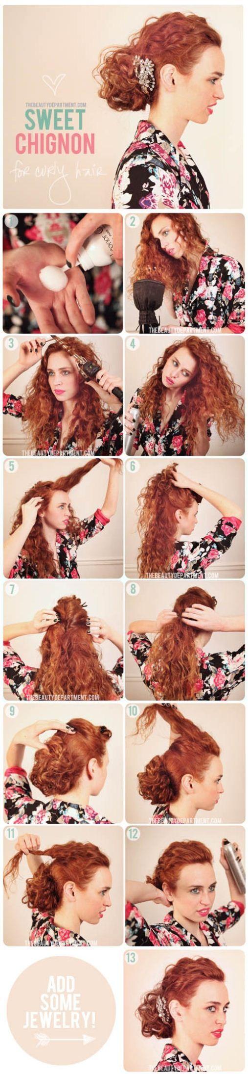 Красивые прически для кудрявых волос своими руками из 349