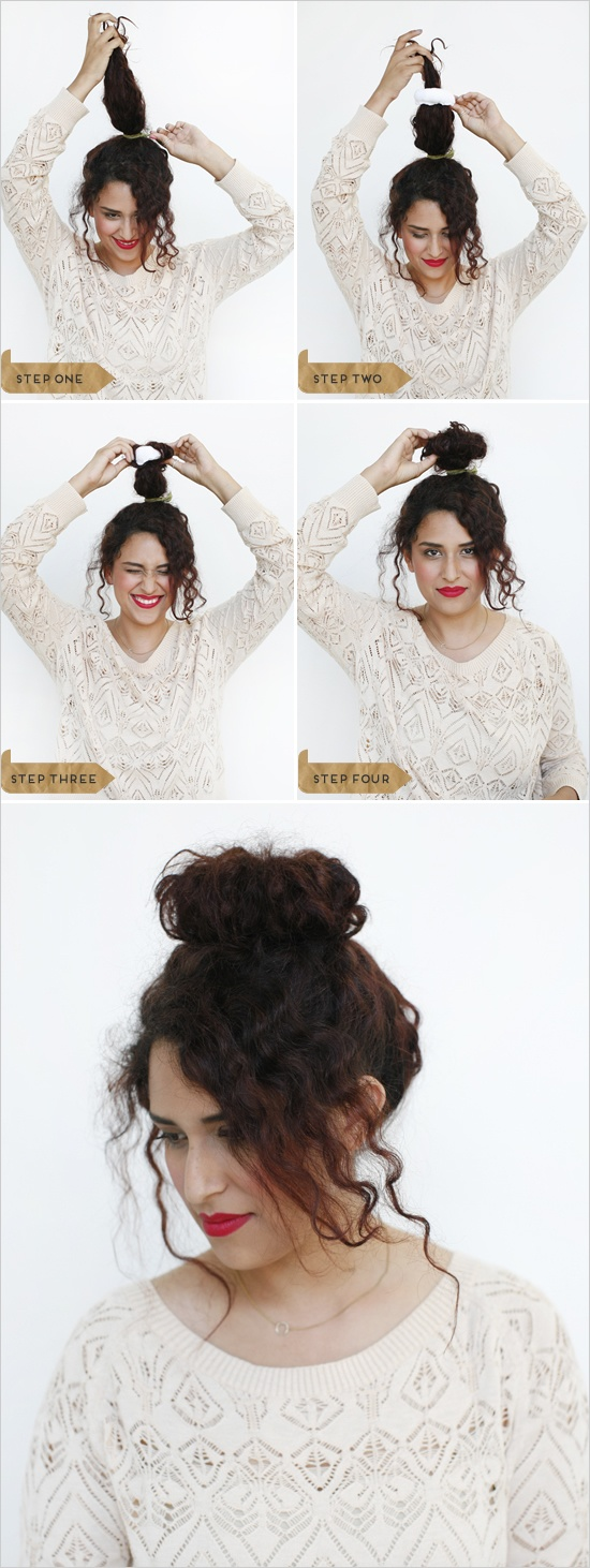 Outstanding How To Make A Bun For Curly Hair Best Hairstyles 2017 Short Hairstyles Gunalazisus