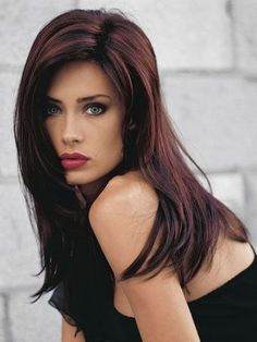 Dark Brown Hairstyle With Red Highlights