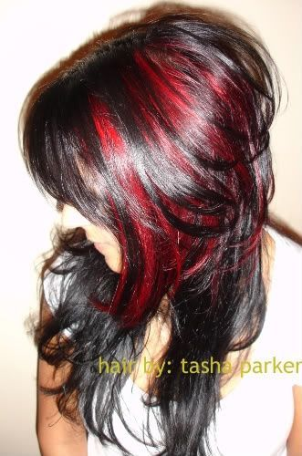 Dark Hairstyle With Red Highlights