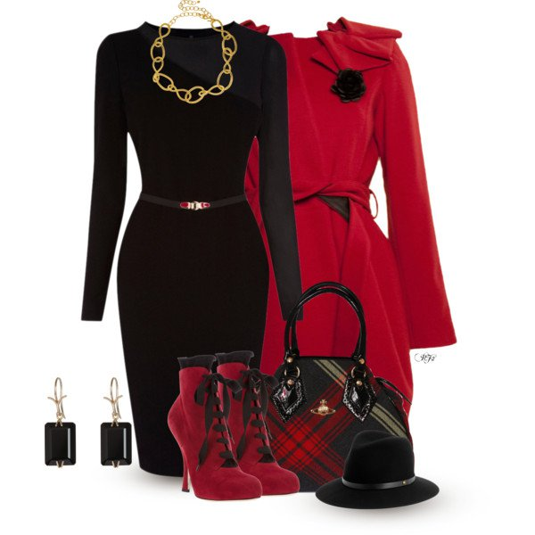 Elegant Red Outfit Idea for Work