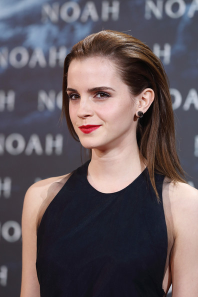 Emma Watson Back-Teased Long Hair with Red Lips