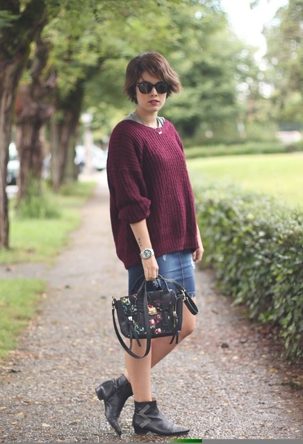 Fall Outfit Idea with Garnet Sweater and Denim Skirt