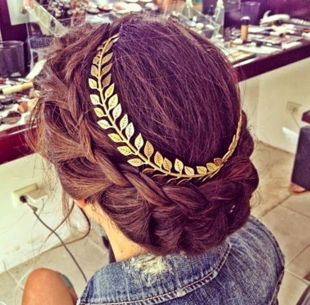 Fantastic Braided Updo Hairstyle with A Metallic Headband