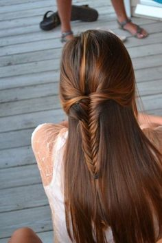 Fishtail Braid Half Up Hairstyle for School Girls