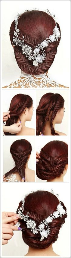 Fishtail Braided Updo Hairstyle Tutorial