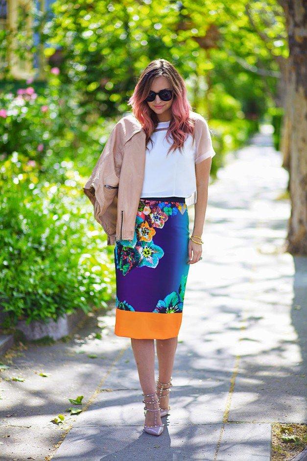 Floral Midi Skirt for Women