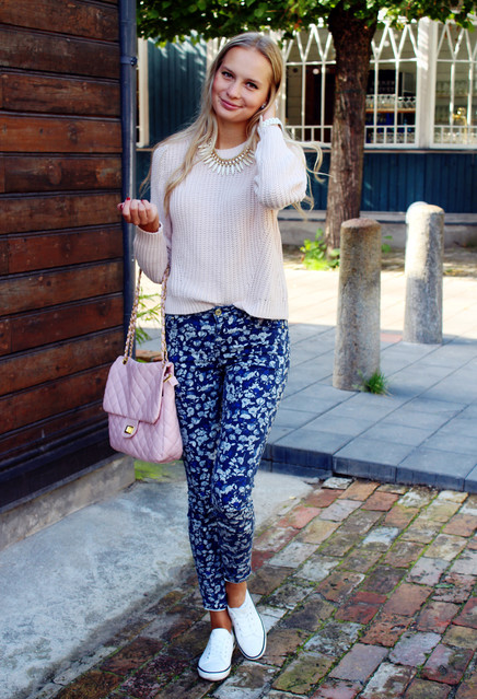 Floral Pants and White Sweater Outfit for Fall