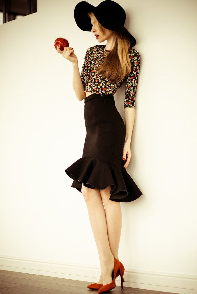Floral Top with Black Midi Skirt