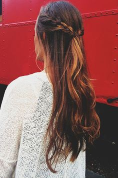 French Braid Half Up Hairstyle for Ombre Hair