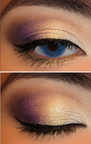 Gold and Purple Eye Makeup Tutorial