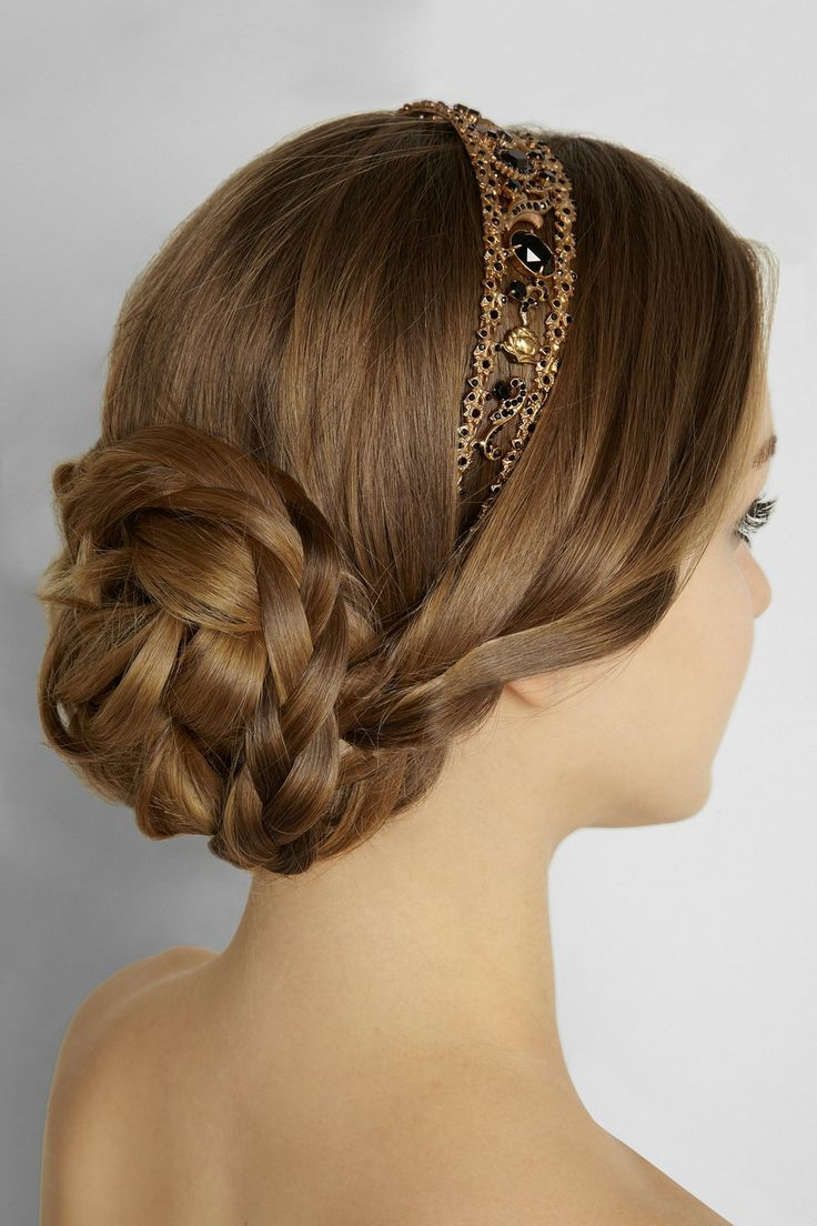 Graceful Braided Updo Hairstyle with A Headband