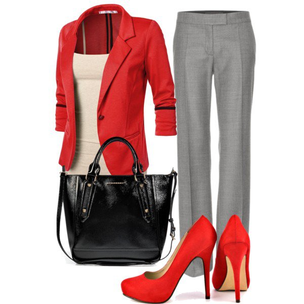 Grey and Red Outfit Idea for Work