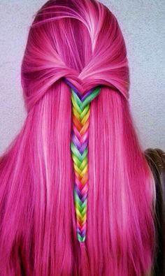 Half Up Half Down Rainbow Hairstyle