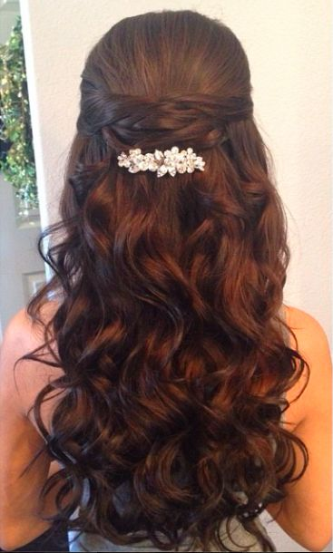 Half Up Half Down Wedding Hairstyle With Diamond Pin