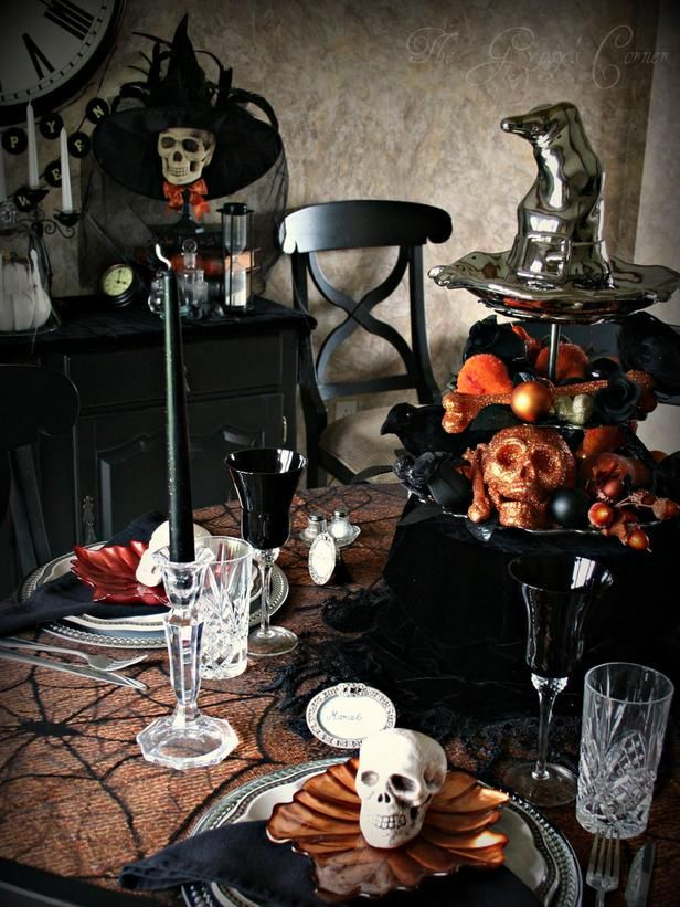 Halloween Table with Black Stuff