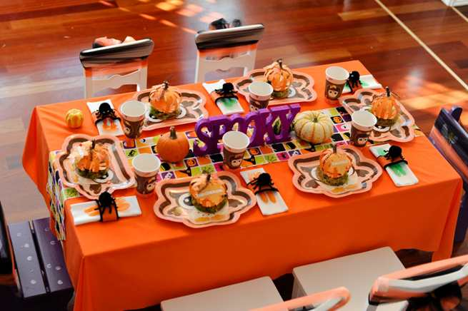 Halloween Table with Orange Table Cloth