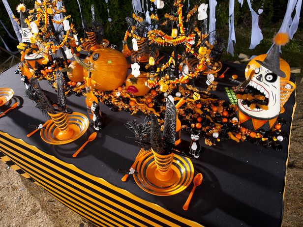 Halloween Table with Pumpkins