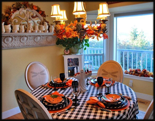 Halloween Table with Tartan Table Cloth