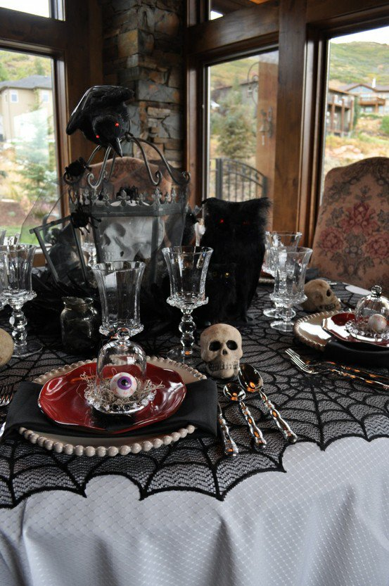 Halloween Table with Terrified Decorations